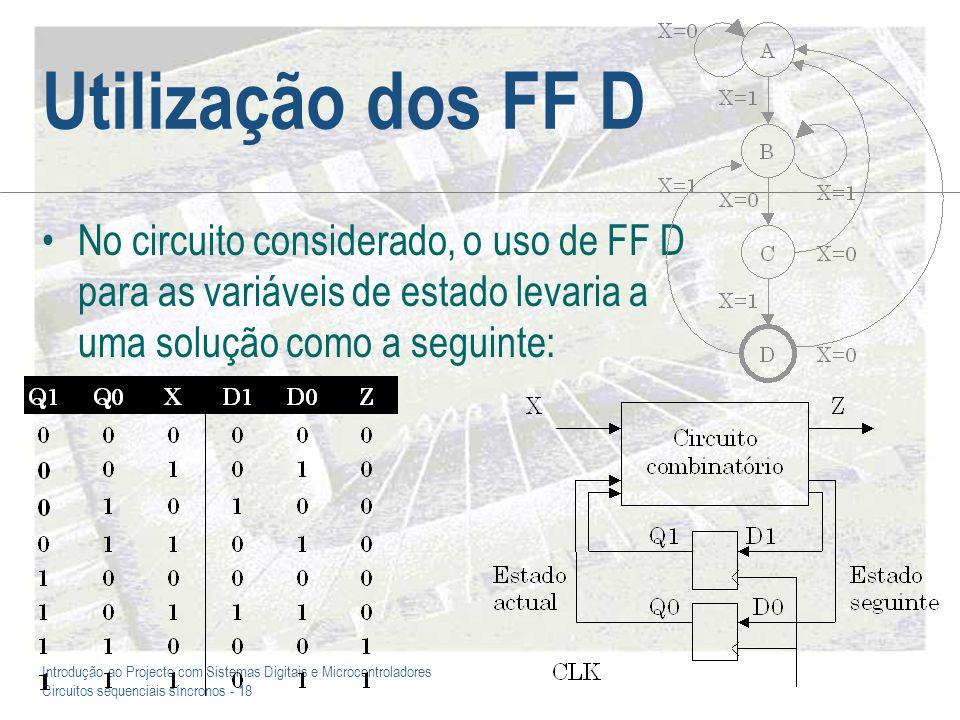 Introdução ao Projecto com Sistemas Digitais e Microcontroladores Circuitos sequenciais síncronos - 18 Utilização dos FF D No circuito considerado, o