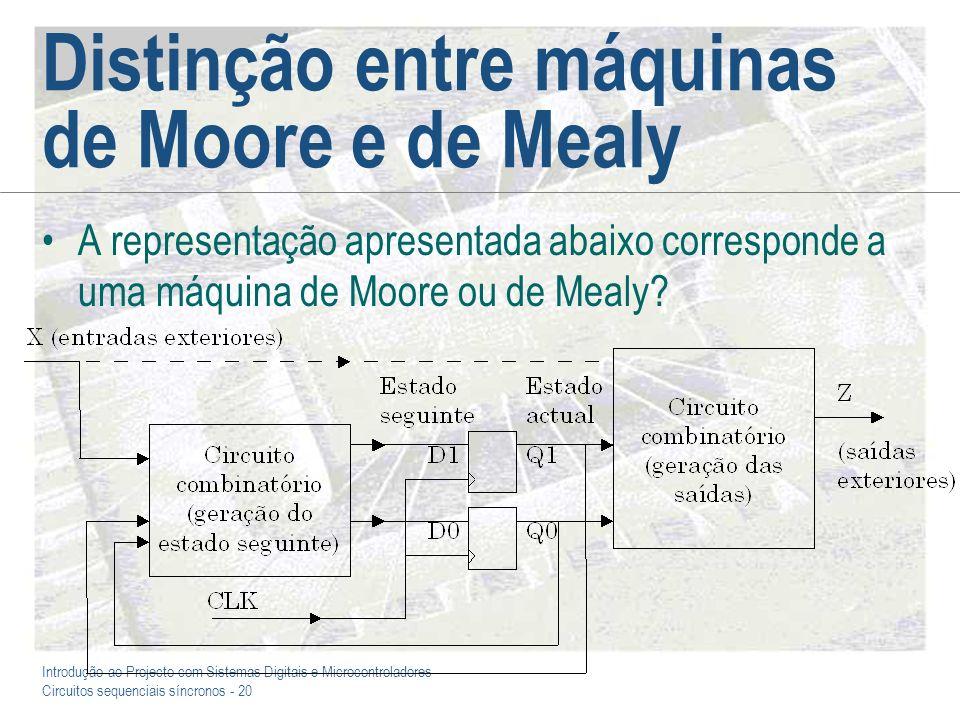 Introdução ao Projecto com Sistemas Digitais e Microcontroladores Circuitos sequenciais síncronos - 20 Distinção entre máquinas de Moore e de Mealy A