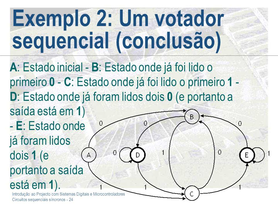 Introdução ao Projecto com Sistemas Digitais e Microcontroladores Circuitos sequenciais síncronos - 24 Exemplo 2: Um votador sequencial (conclusão) A