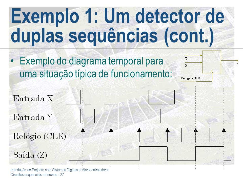 Introdução ao Projecto com Sistemas Digitais e Microcontroladores Circuitos sequenciais síncronos - 27 Exemplo 1: Um detector de duplas sequências (co