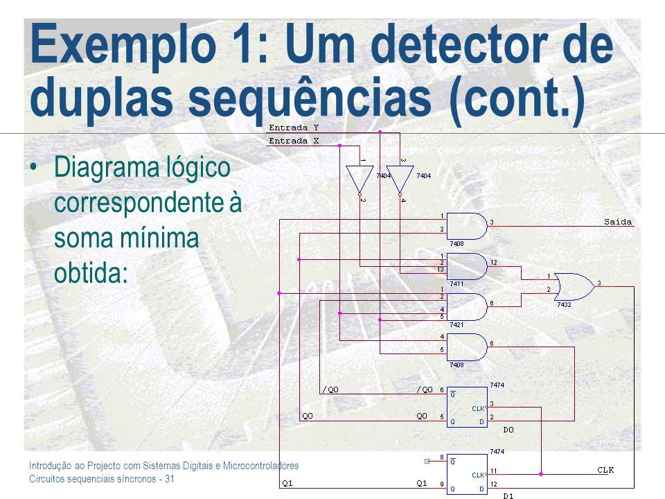 Introdução ao Projecto com Sistemas Digitais e Microcontroladores Circuitos sequenciais síncronos - 31 Exemplo 1: Um detector de duplas sequências (co