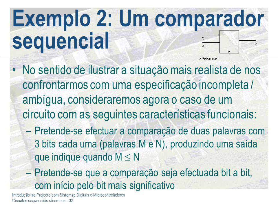 Introdução ao Projecto com Sistemas Digitais e Microcontroladores Circuitos sequenciais síncronos - 32 Exemplo 2: Um comparador sequencial No sentido