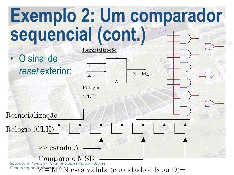 Introdução ao Projecto com Sistemas Digitais e Microcontroladores Circuitos sequenciais síncronos - 35 Exemplo 2: Um comparador sequencial (cont.) O s