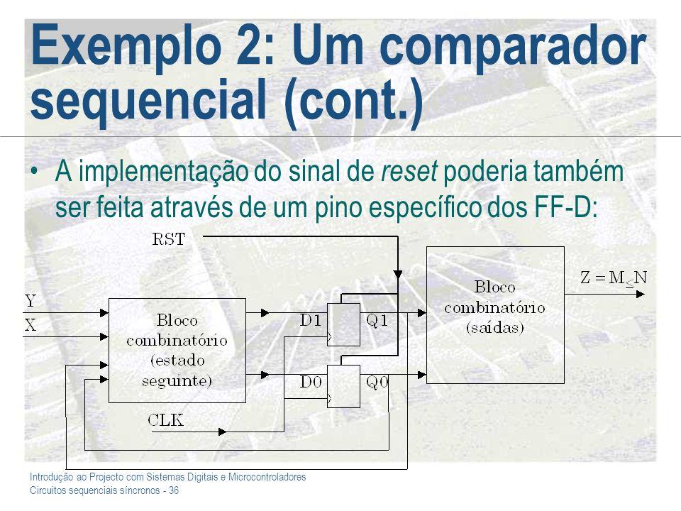 Introdução ao Projecto com Sistemas Digitais e Microcontroladores Circuitos sequenciais síncronos - 36 Exemplo 2: Um comparador sequencial (cont.) A i