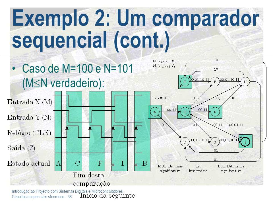 Introdução ao Projecto com Sistemas Digitais e Microcontroladores Circuitos sequenciais síncronos - 38 Exemplo 2: Um comparador sequencial (cont.) Cas