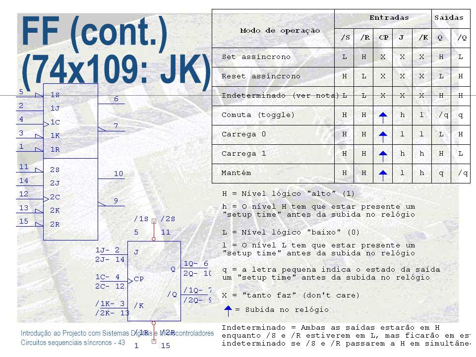 Introdução ao Projecto com Sistemas Digitais e Microcontroladores Circuitos sequenciais síncronos - 43 FF (cont.) (74x109: JK)