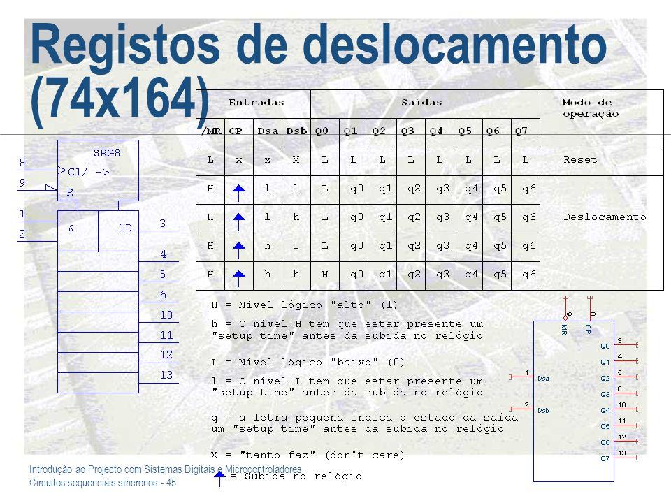 Introdução ao Projecto com Sistemas Digitais e Microcontroladores Circuitos sequenciais síncronos - 45 Registos de deslocamento (74x164)