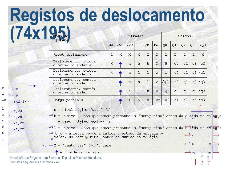 Introdução ao Projecto com Sistemas Digitais e Microcontroladores Circuitos sequenciais síncronos - 47 Registos de deslocamento (74x195)