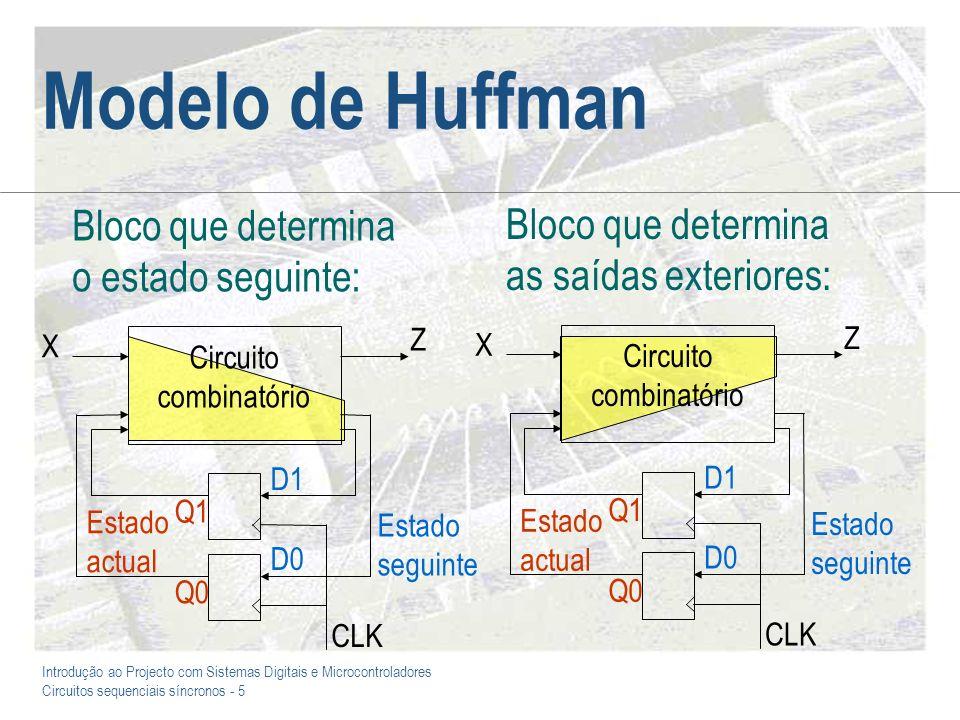 Introdução ao Projecto com Sistemas Digitais e Microcontroladores Circuitos sequenciais síncronos - 56 Análise de circuitos na forma de Huffman Este tipo de circuitos é o que decorre da síntese por recurso a mapas de Karnaugh, podendo a análise destes circuitos ser feita seguindo o percurso oposto ao da síntese: –Obter as equações algébricas a partir do diagrama lógico –Construir a tabela de verdade que especifica o valor das saídas para cada combinação possível nas entradas –Desenhar o diagrama de transição de estados