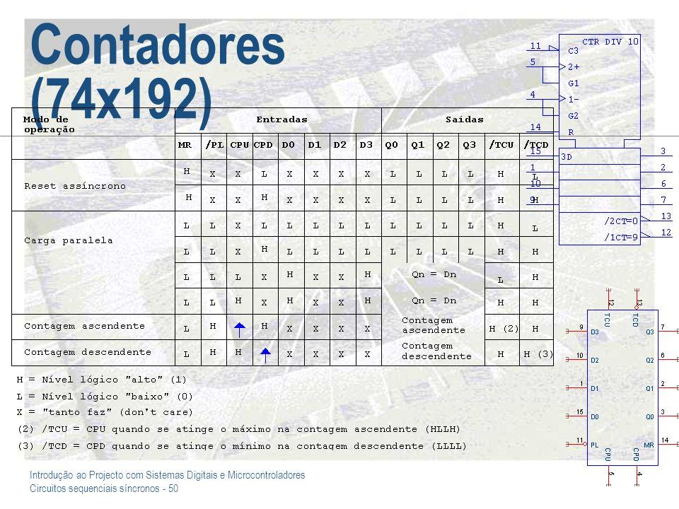 Introdução ao Projecto com Sistemas Digitais e Microcontroladores Circuitos sequenciais síncronos - 50 Contadores (74x192)