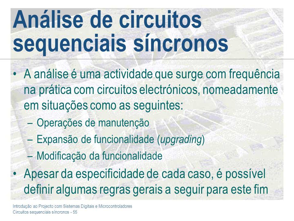 Introdução ao Projecto com Sistemas Digitais e Microcontroladores Circuitos sequenciais síncronos - 55 Análise de circuitos sequenciais síncronos A an