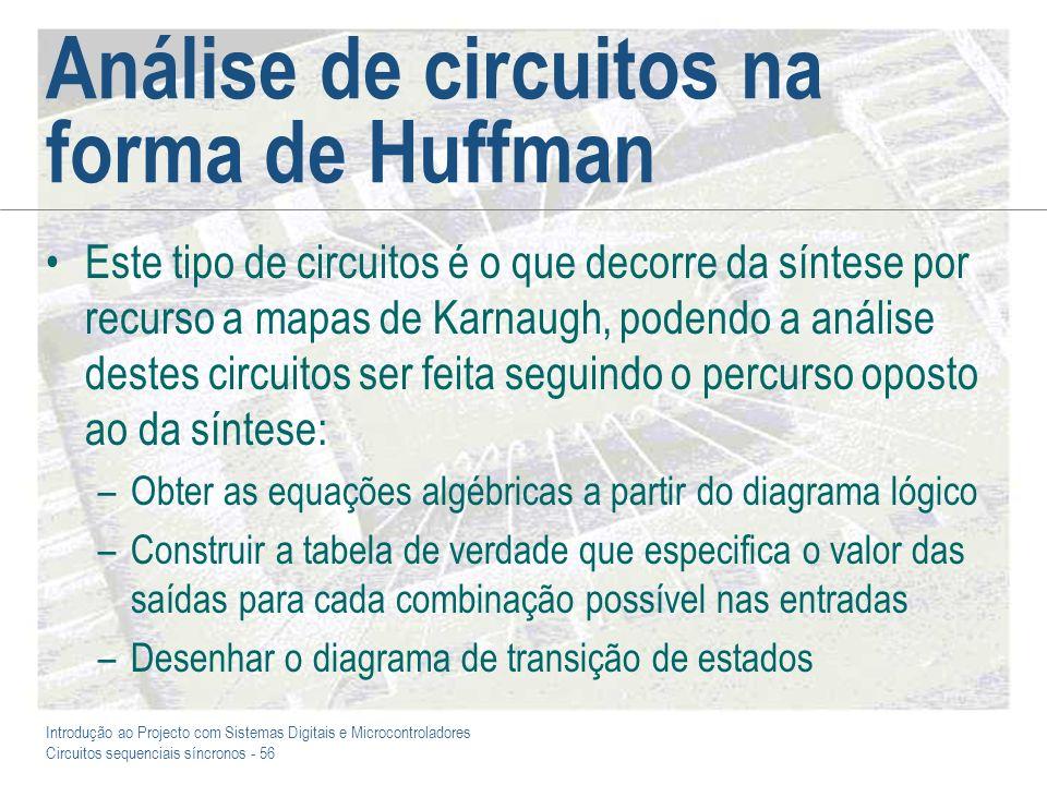 Introdução ao Projecto com Sistemas Digitais e Microcontroladores Circuitos sequenciais síncronos - 56 Análise de circuitos na forma de Huffman Este t