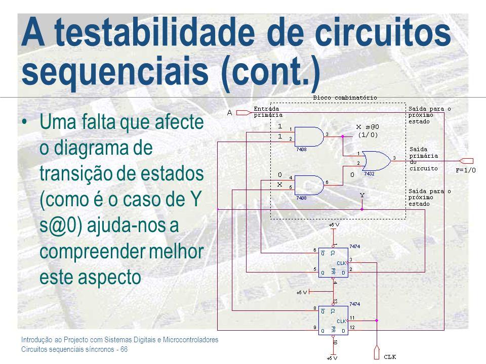 Introdução ao Projecto com Sistemas Digitais e Microcontroladores Circuitos sequenciais síncronos - 66 A testabilidade de circuitos sequenciais (cont.