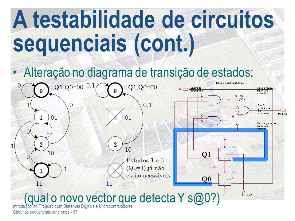Introdução ao Projecto com Sistemas Digitais e Microcontroladores Circuitos sequenciais síncronos - 67 A testabilidade de circuitos sequenciais (cont.