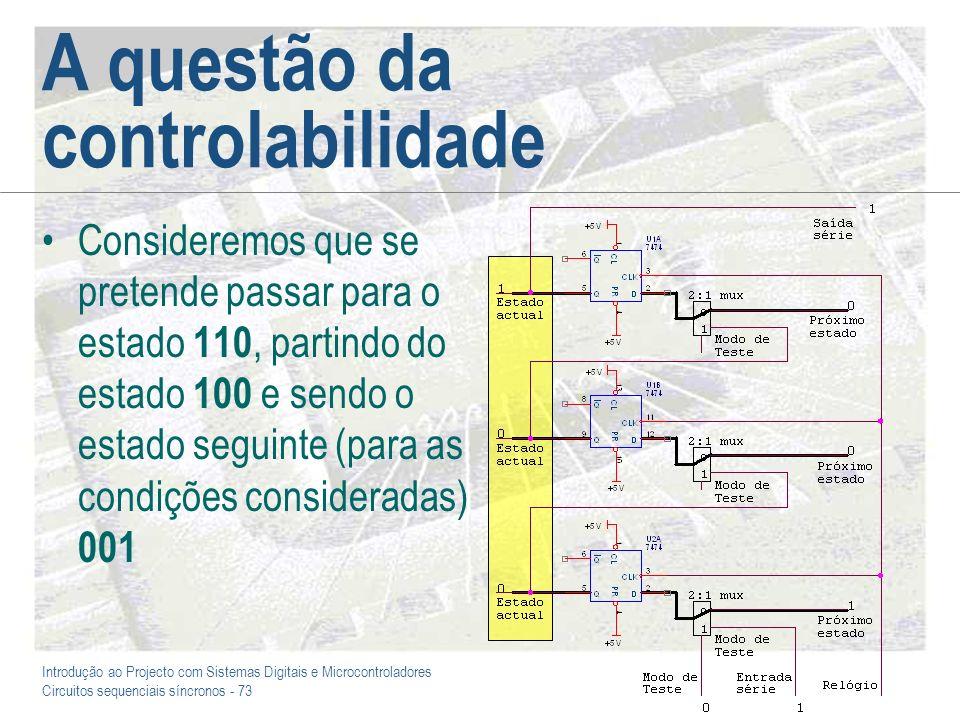 Introdução ao Projecto com Sistemas Digitais e Microcontroladores Circuitos sequenciais síncronos - 73 A questão da controlabilidade Consideremos que