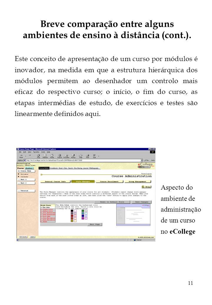 11 Breve comparação entre alguns ambientes de ensino à distância (cont.). Este conceito de apresentação de um curso por módulos é inovador, na medida