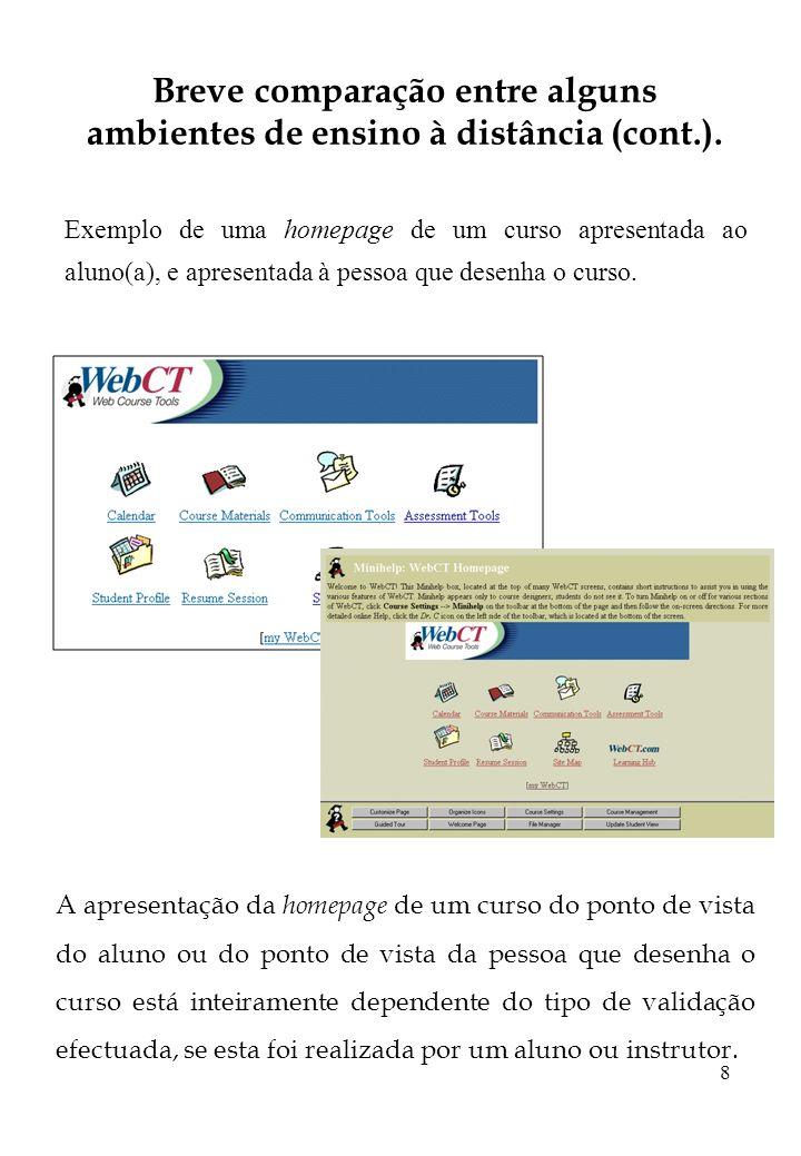 8 Breve comparação entre alguns ambientes de ensino à distância (cont.). Exemplo de uma homepage de um curso apresentada ao aluno(a), e apresentada à