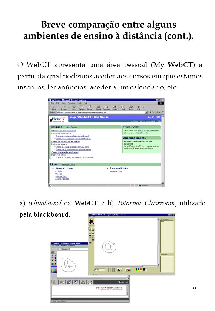 9 Breve comparação entre alguns ambientes de ensino à distância (cont.). O WebCT apresenta uma área pessoal ( My WebCT ) a partir da qual podemos aced