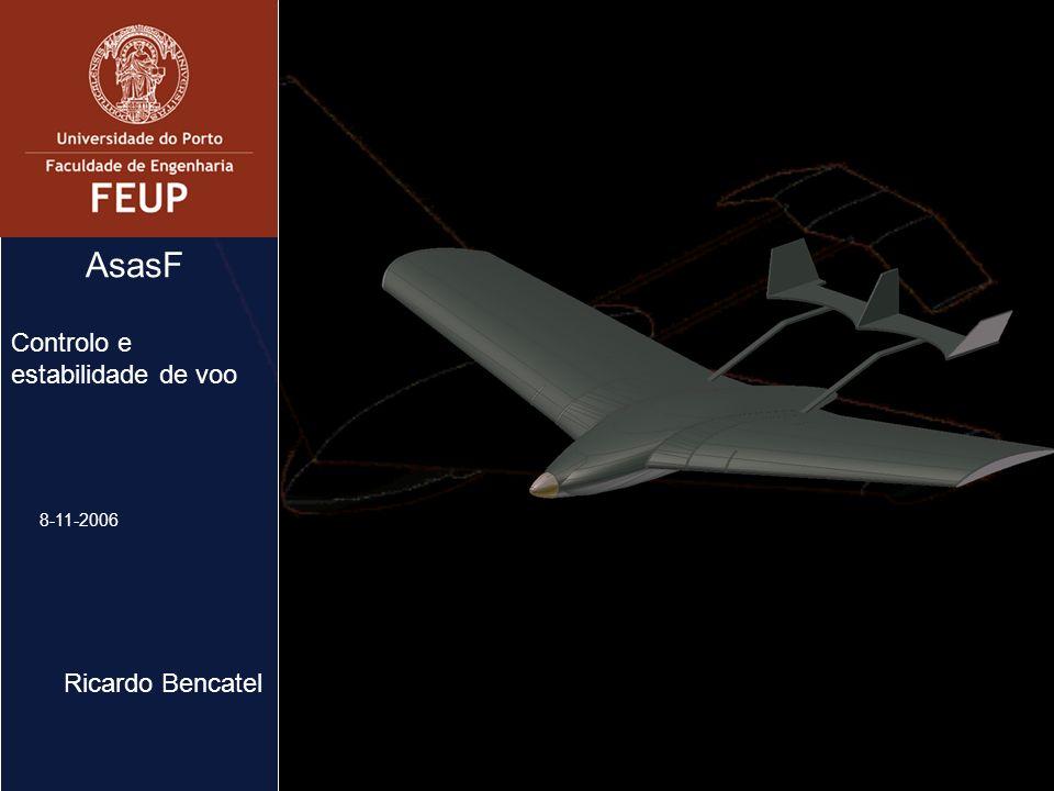 2 Sumário AsasF Controlo e estabilidade de voo Aeronáutica - NAAM Aerodinâmica Controladores Simulador Objectivos futuros