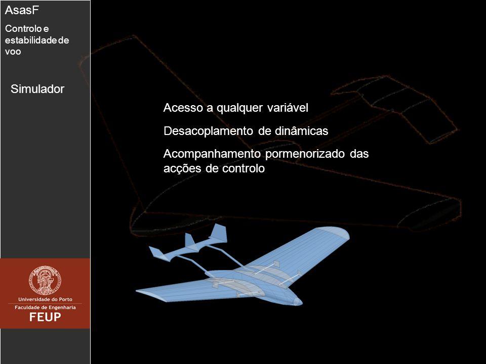 5 Simulador AsasF Controlo e estabilidade de voo Acesso a qualquer variável Acompanhamento pormenorizado das acções de controlo Desacoplamento de dinâ