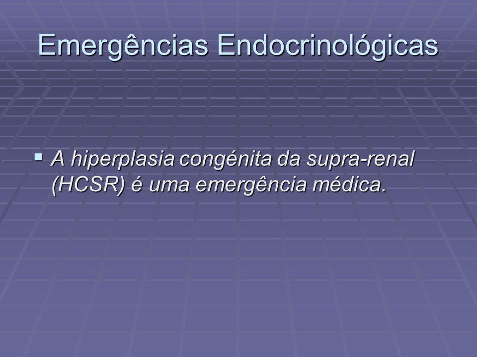 Emergências Endocrinológicas A hiperplasia congénita da supra-renal (HCSR) é uma emergência médica. A hiperplasia congénita da supra-renal (HCSR) é um