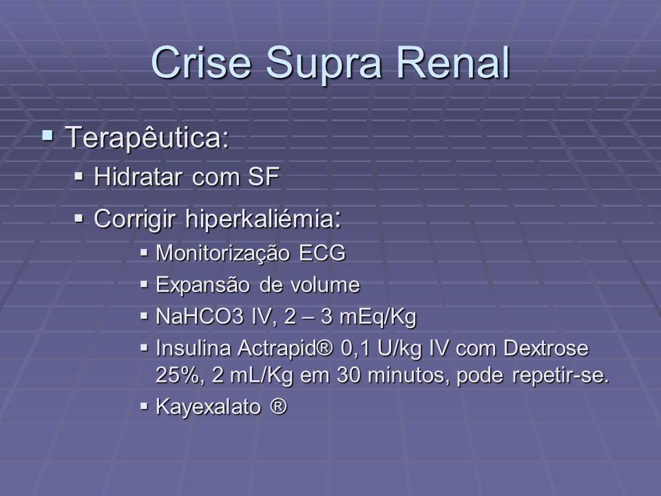 Crise Supra Renal Terapêutica: Terapêutica: Hidratar com SF Hidratar com SF Corrigir hiperkaliémia : Corrigir hiperkaliémia : Monitorização ECG Monito