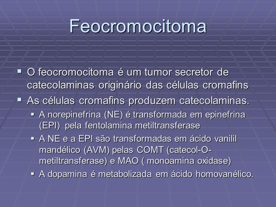 Feocromocitoma O feocromocitoma é um tumor secretor de catecolaminas originário das células cromafins O feocromocitoma é um tumor secretor de catecola