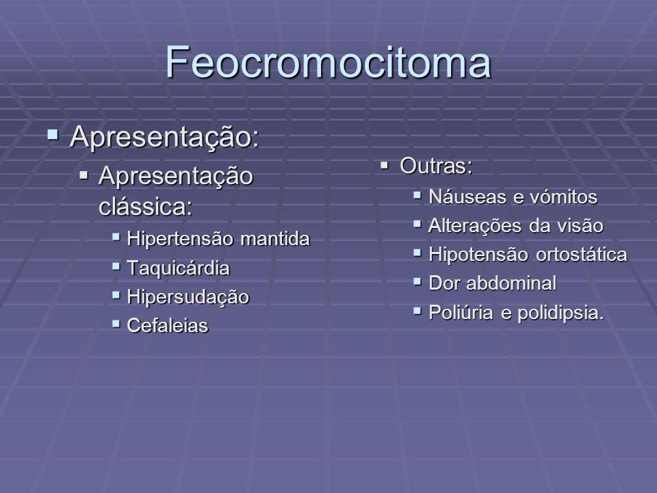 Feocromocitoma Apresentação: Apresentação: Apresentação clássica: Apresentação clássica: Hipertensão mantida Hipertensão mantida Taquicárdia Taquicárd