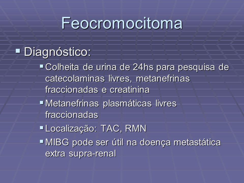 Feocromocitoma Diagnóstico: Diagnóstico: Colheita de urina de 24hs para pesquisa de catecolaminas livres, metanefrinas fraccionadas e creatinina Colhe