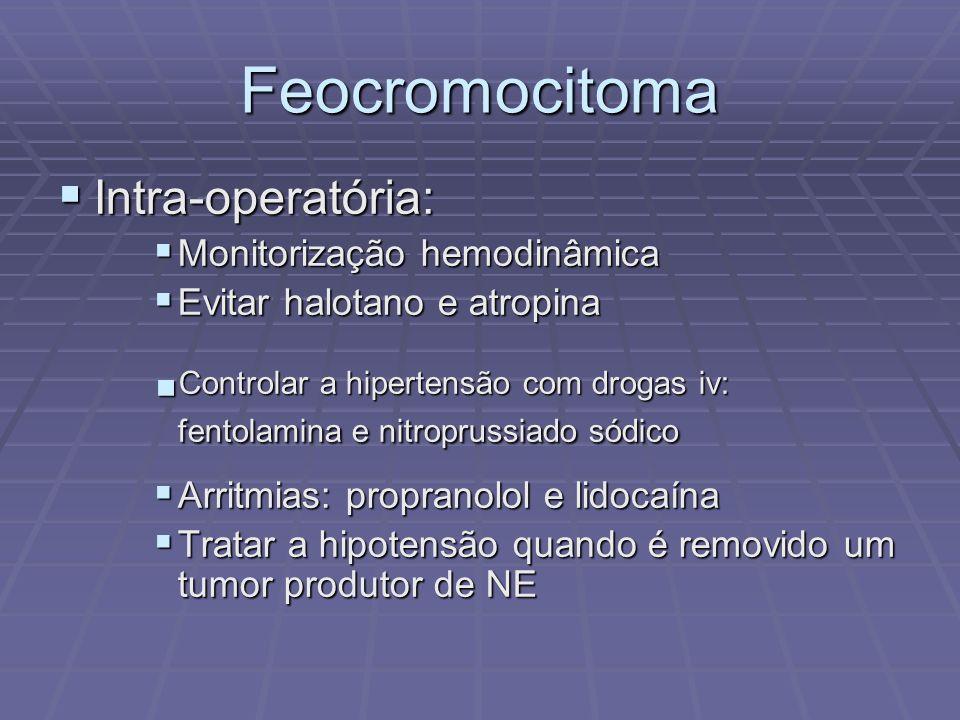 Intra-operatória: Intra-operatória: Monitorização hemodinâmica Monitorização hemodinâmica Evitar halotano e atropina Evitar halotano e atropina Contro