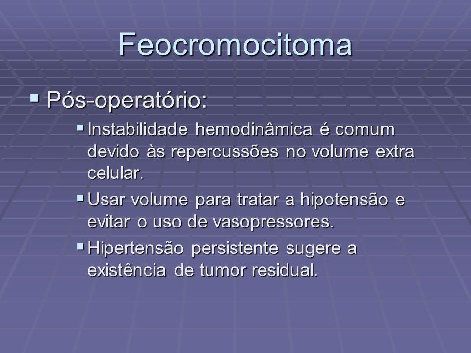 Feocromocitoma Pós-operatório: Pós-operatório: Instabilidade hemodinâmica é comum devido às repercussões no volume extra celular. Instabilidade hemodi