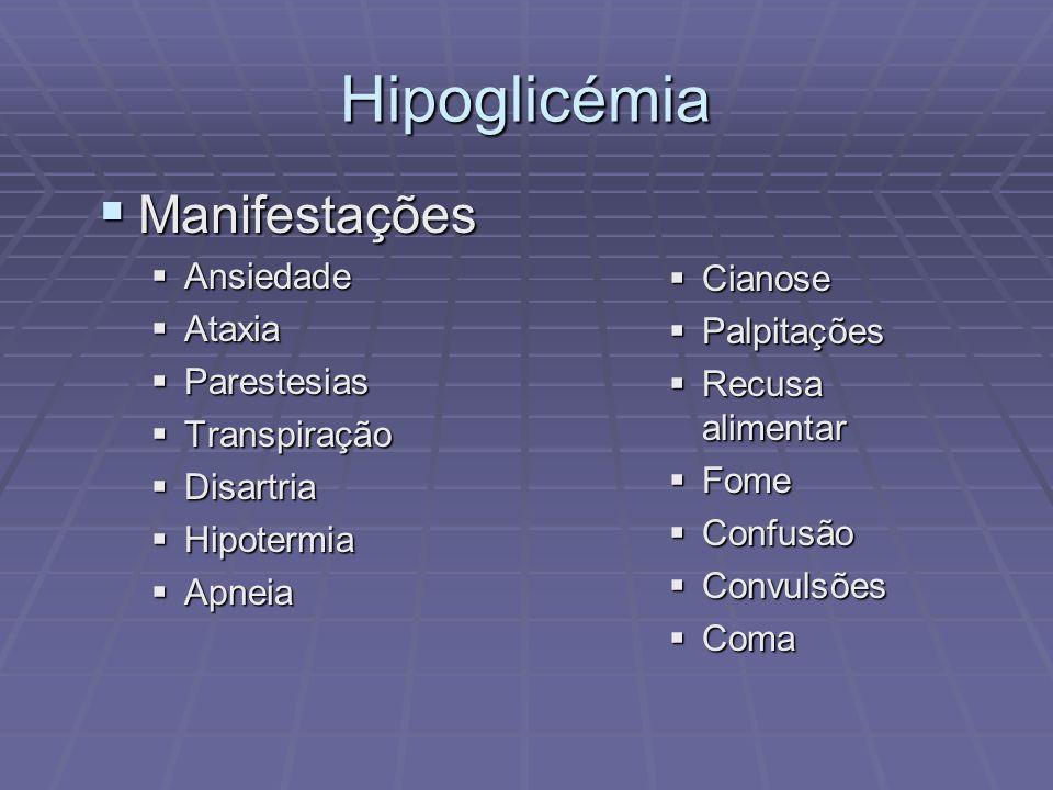Hipoglicémia Manifestações Manifestações Ansiedade Ansiedade Ataxia Ataxia Parestesias Parestesias Transpiração Transpiração Disartria Disartria Hipot