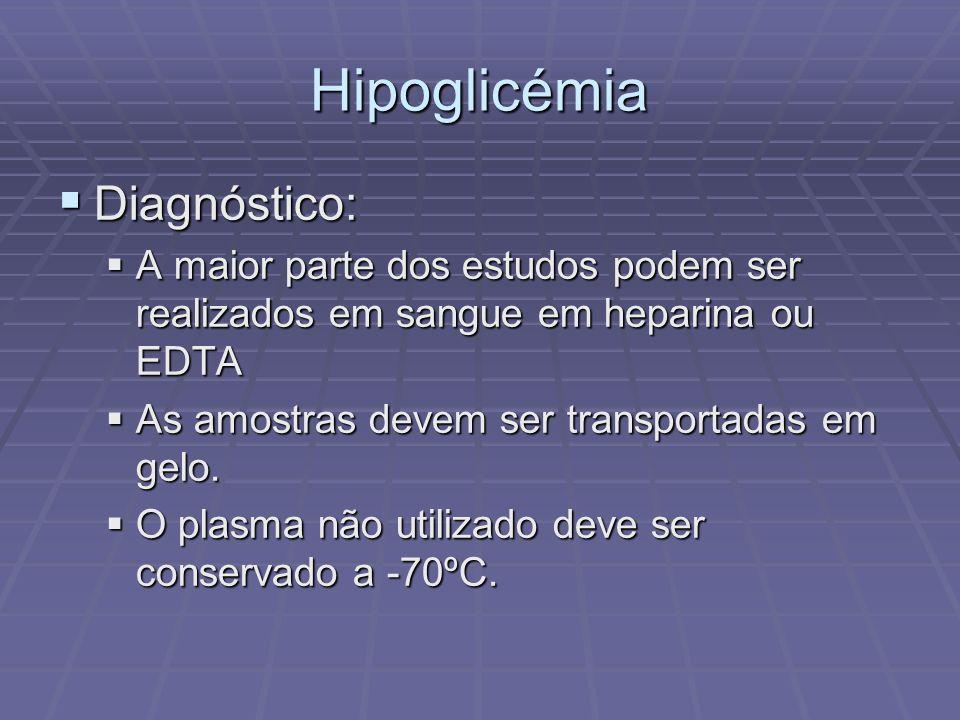 Hipoglicémia Diagnóstico: Diagnóstico: A maior parte dos estudos podem ser realizados em sangue em heparina ou EDTA A maior parte dos estudos podem se
