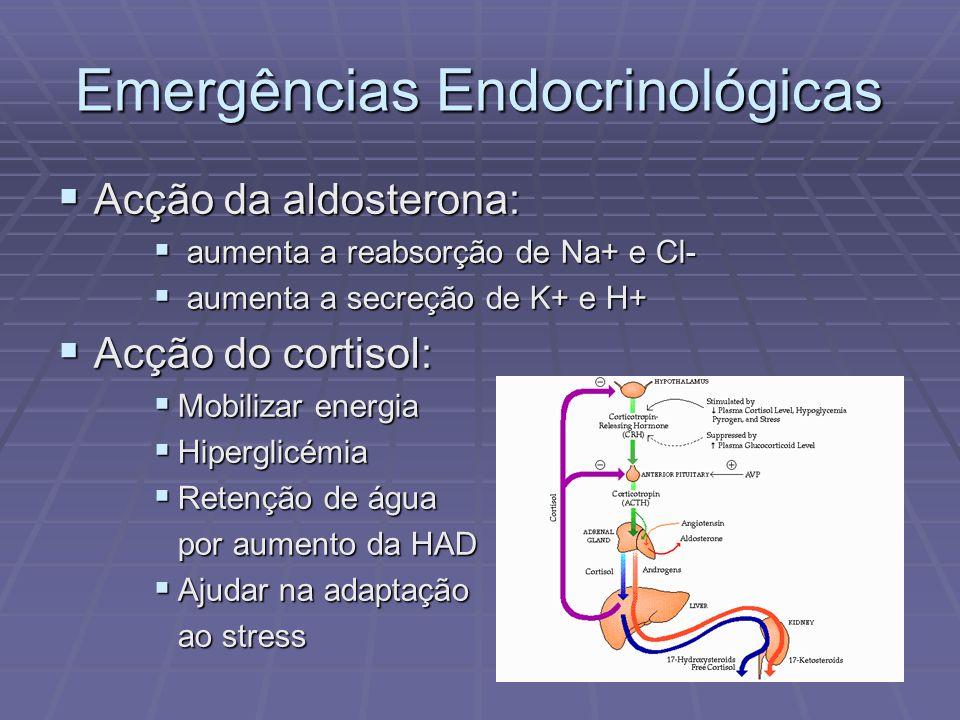 Emergências Endocrinológicas Acção da aldosterona: Acção da aldosterona: aumenta a reabsorção de Na+ e Cl- aumenta a reabsorção de Na+ e Cl- aumenta a