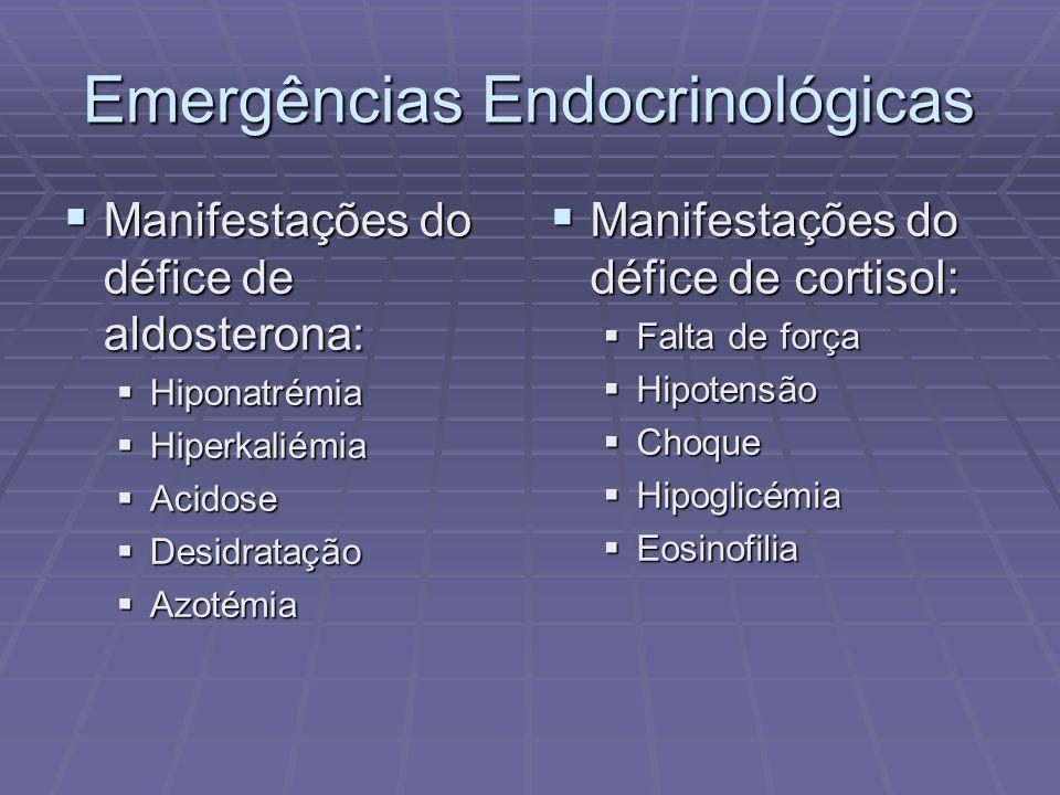 Emergências Endocrinológicas Manifestações do défice de aldosterona: Manifestações do défice de aldosterona: Hiponatrémia Hiponatrémia Hiperkaliémia H