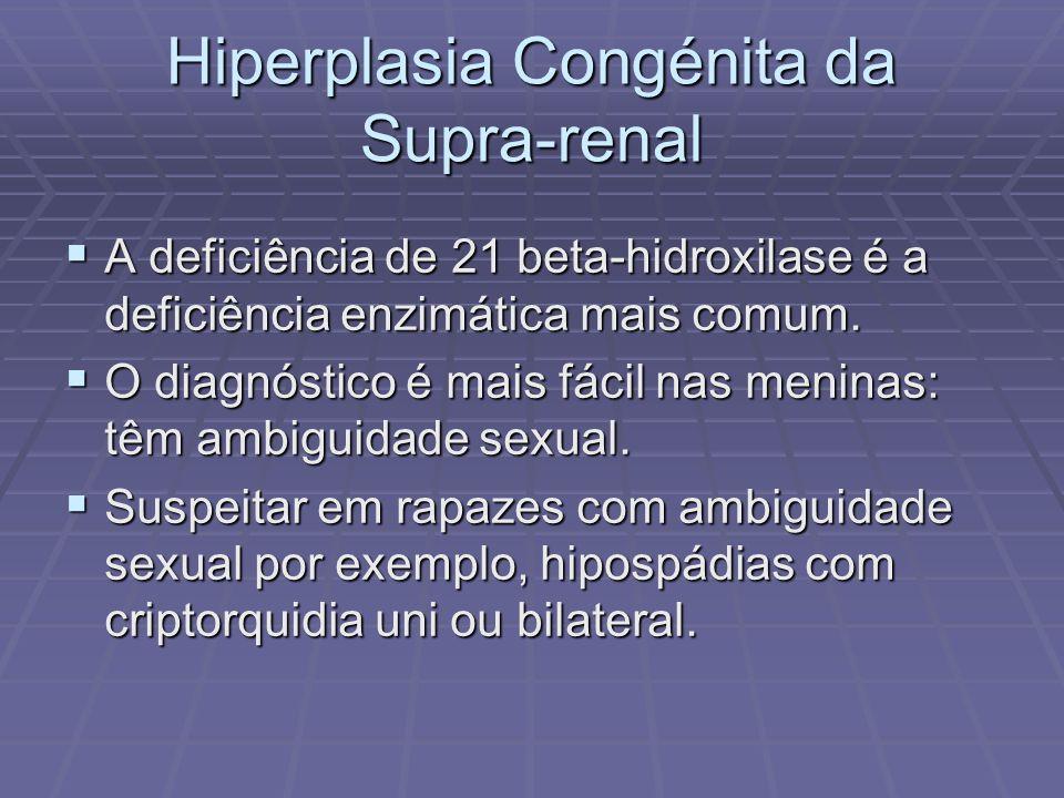 Hiperplasia Congénita da Supra-renal A deficiência de 21 beta-hidroxilase é a deficiência enzimática mais comum. A deficiência de 21 beta-hidroxilase