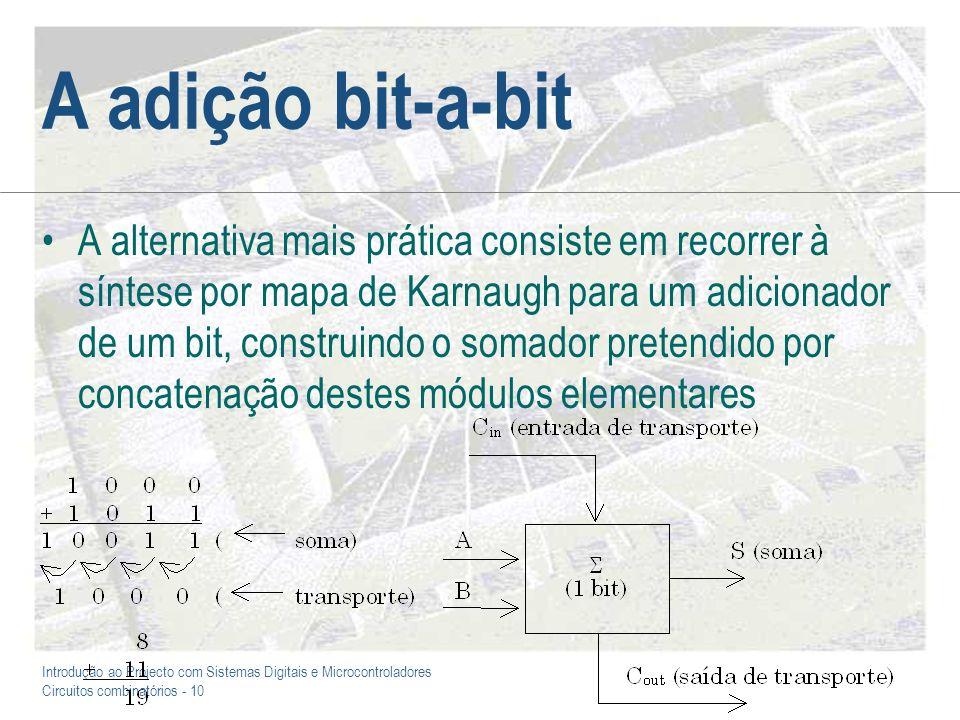 Introdução ao Projecto com Sistemas Digitais e Microcontroladores Circuitos combinatórios - 10 A adição bit-a-bit A alternativa mais prática consiste