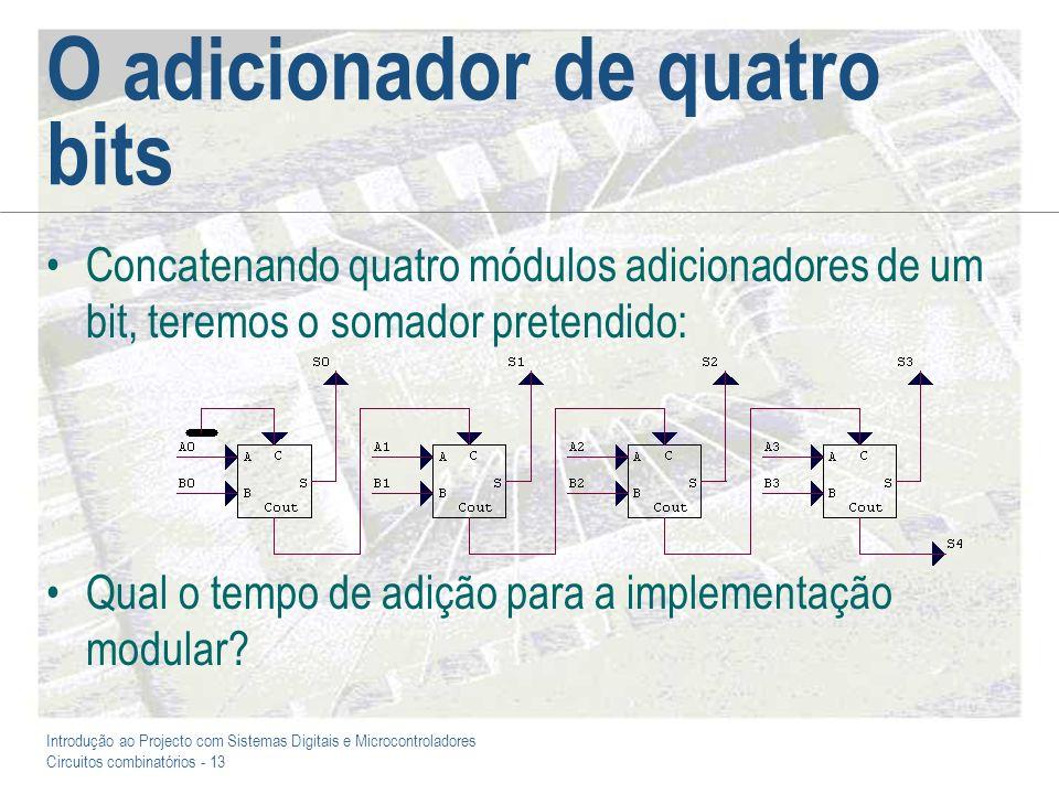 Introdução ao Projecto com Sistemas Digitais e Microcontroladores Circuitos combinatórios - 13 O adicionador de quatro bits Concatenando quatro módulo
