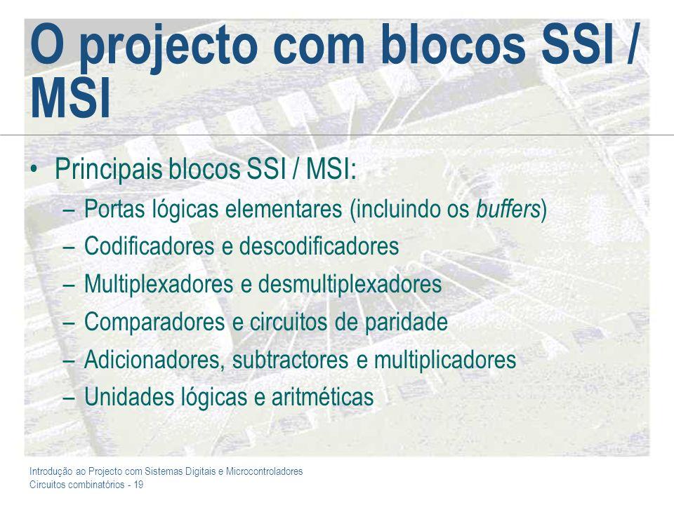 Introdução ao Projecto com Sistemas Digitais e Microcontroladores Circuitos combinatórios - 19 O projecto com blocos SSI / MSI Principais blocos SSI /