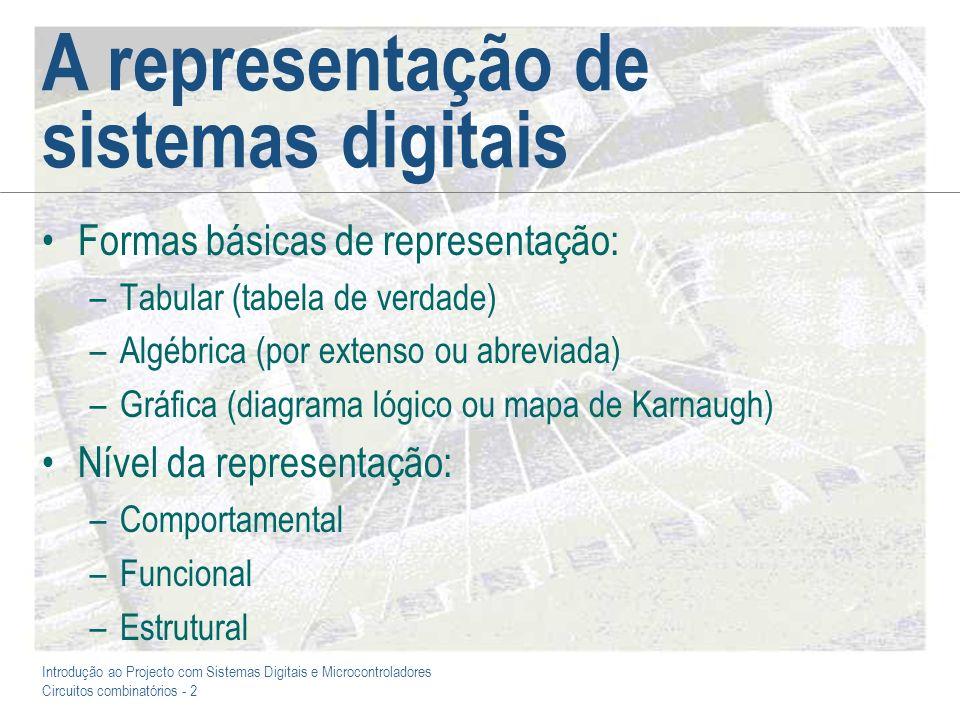 Introdução ao Projecto com Sistemas Digitais e Microcontroladores Circuitos combinatórios - 2 A representação de sistemas digitais Formas básicas de r