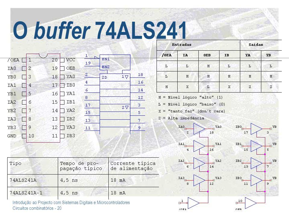 Introdução ao Projecto com Sistemas Digitais e Microcontroladores Circuitos combinatórios - 20 O buffer 74ALS241