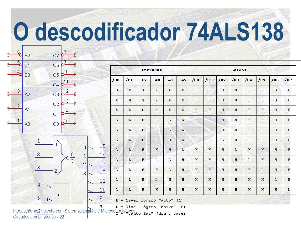 Introdução ao Projecto com Sistemas Digitais e Microcontroladores Circuitos combinatórios - 22 O descodificador 74ALS138