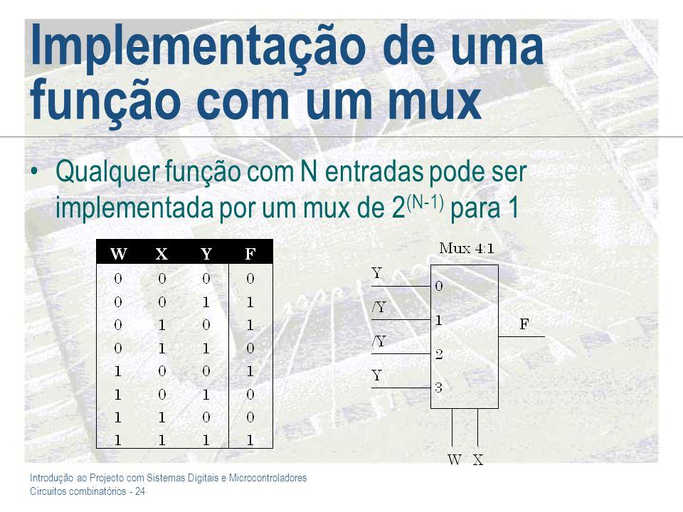 Introdução ao Projecto com Sistemas Digitais e Microcontroladores Circuitos combinatórios - 24 Implementação de uma função com um mux Qualquer função