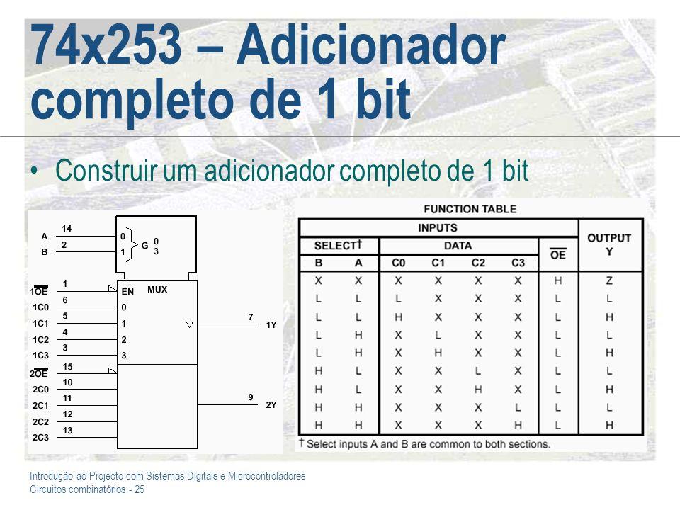 Introdução ao Projecto com Sistemas Digitais e Microcontroladores Circuitos combinatórios - 25 74x253 – Adicionador completo de 1 bit Construir um adi
