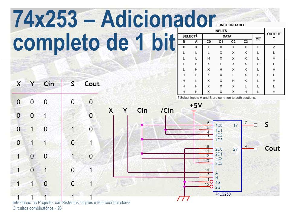 Introdução ao Projecto com Sistemas Digitais e Microcontroladores Circuitos combinatórios - 26 74x253 – Adicionador completo de 1 bit +5V 74LS253 6 5