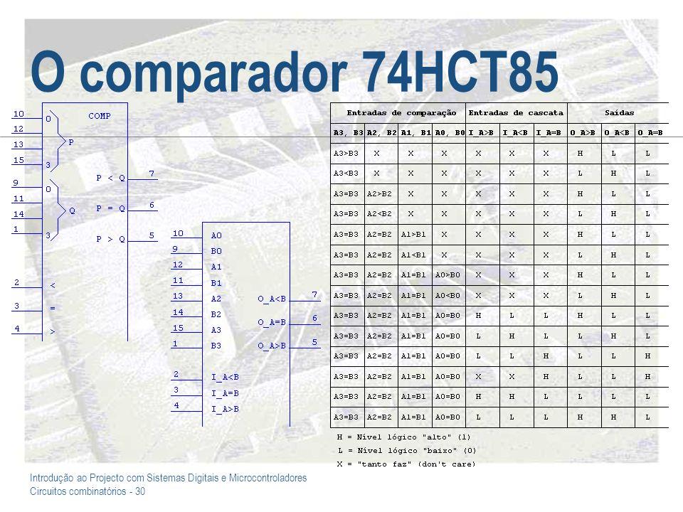 Introdução ao Projecto com Sistemas Digitais e Microcontroladores Circuitos combinatórios - 30 O comparador 74HCT85