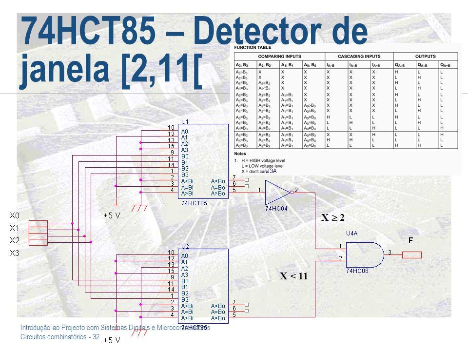 Introdução ao Projecto com Sistemas Digitais e Microcontroladores Circuitos combinatórios - 32 74HCT85 – Detector de janela [2,11[ X < 11 X 2