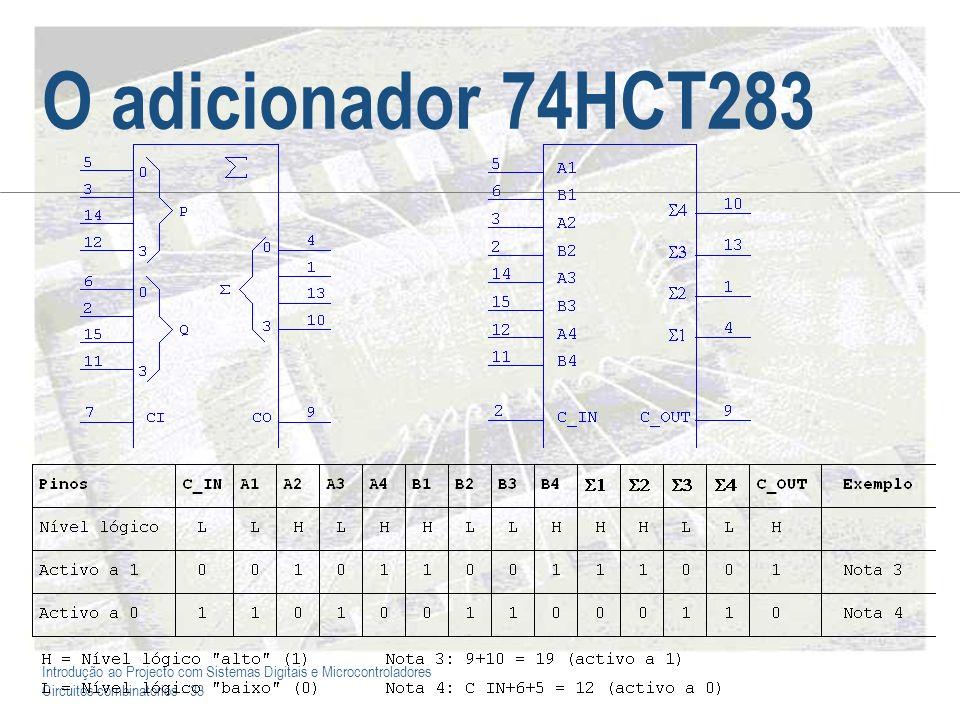 Introdução ao Projecto com Sistemas Digitais e Microcontroladores Circuitos combinatórios - 33 O adicionador 74HCT283