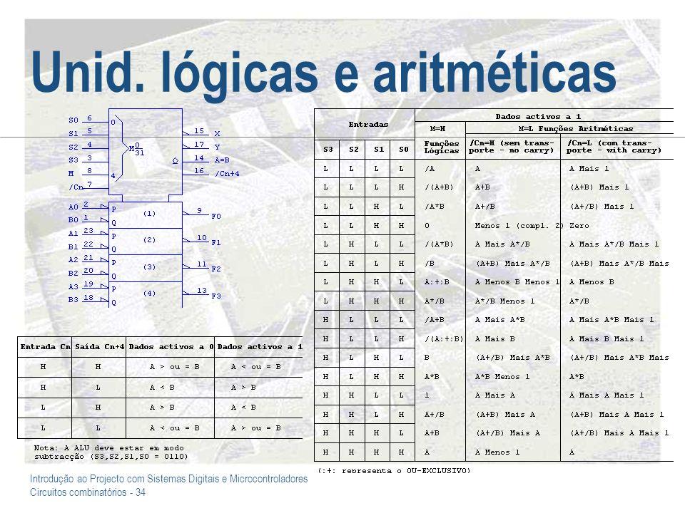 Introdução ao Projecto com Sistemas Digitais e Microcontroladores Circuitos combinatórios - 34 Unid. lógicas e aritméticas