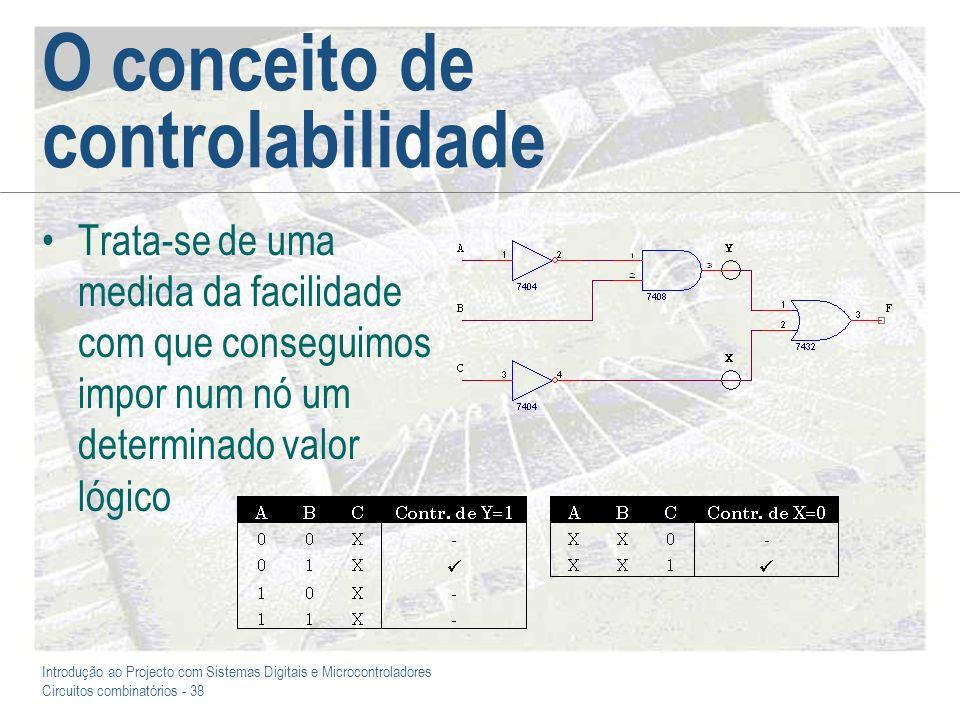 Introdução ao Projecto com Sistemas Digitais e Microcontroladores Circuitos combinatórios - 38 O conceito de controlabilidade Trata-se de uma medida d